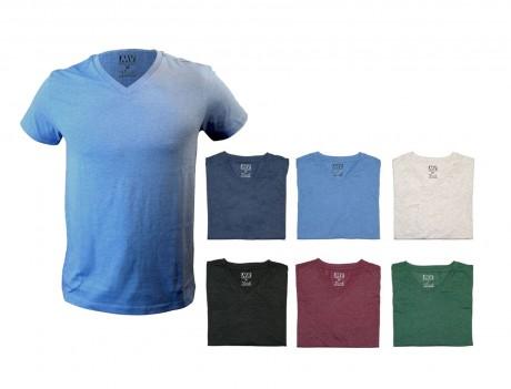 סמוד - חולצת צווארון V שרוול קצר בגזרה אופנתית