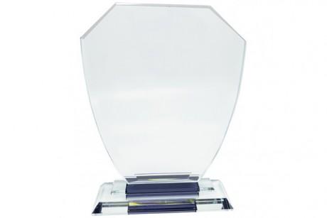 מגן הוקרה מזכוכית קריסטל בסיס מובנה 21x15 ס